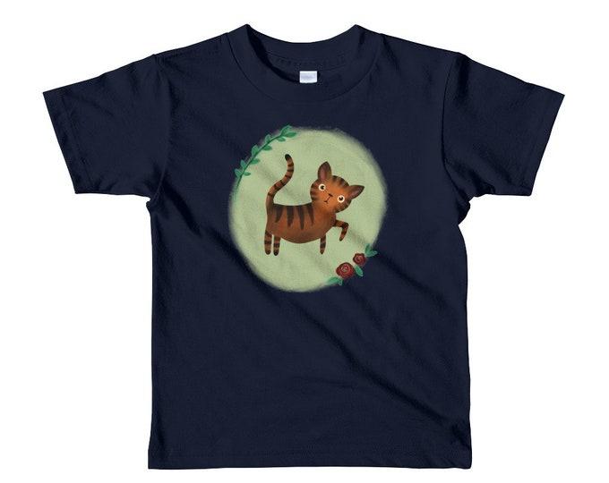 Tiger kids t-shirt, cute cat tiger and roses, original artwork