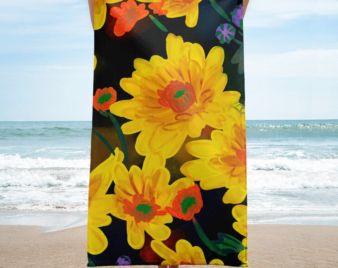 chrysanthemum Towel, floral Beach towel, original artwork