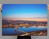Print of Derry City from Above, River Foyle and Peace Bridge, Blue hour