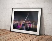 Peace Bridge Derry Lit up at Night| Derry Photos | Derry Prints