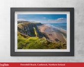 Print of Downhill Beach, Catslerock, Northern Ireland , Mussenden Temple,