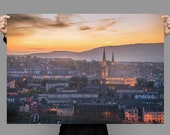 Print Sunset in Derry, Two Spires - Derry Photos, Derry Prints, Irish Landscapes