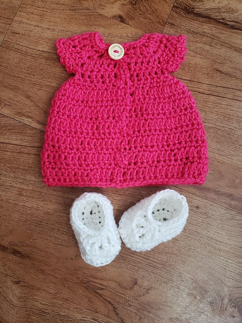 birthday outfit shower gift idea Crochet newborn baby girl dress spring summer infant Christening photo prop ballet slipper booties set