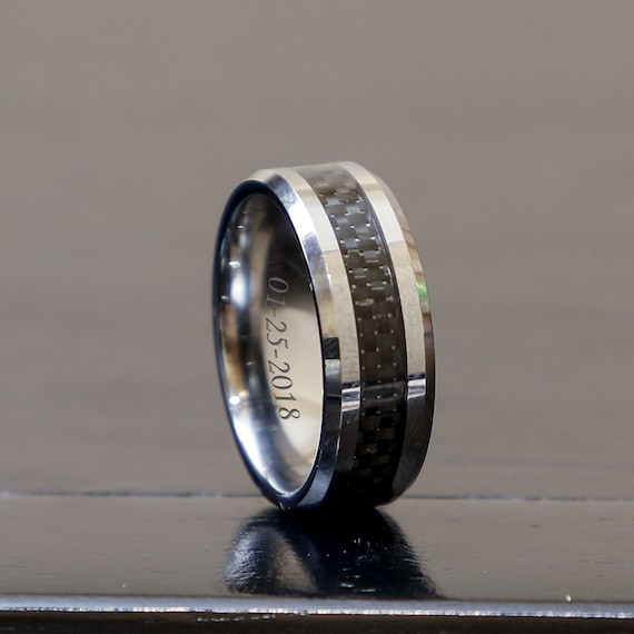 Stainless Steel CZ Carbon Fiber Inlay Mens Wedding Band 8MMFREE ENGRAVING
