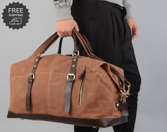 Handmade Waxed Canvas Travel Holdall For Ladies, Handmade Waxed Canvas  Oversized Travel Duffel Bag, CarryOn Bag, Luggage Bag,Gift for Him bab2c705eb