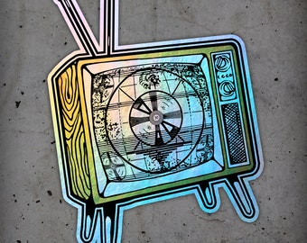 Retro TV Holographic Sticker
