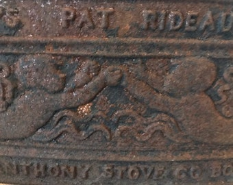 Antique Architectural Iron Cherub Fragment Rusted Metal Stove Door Boston  Iron Gate Metal Gate