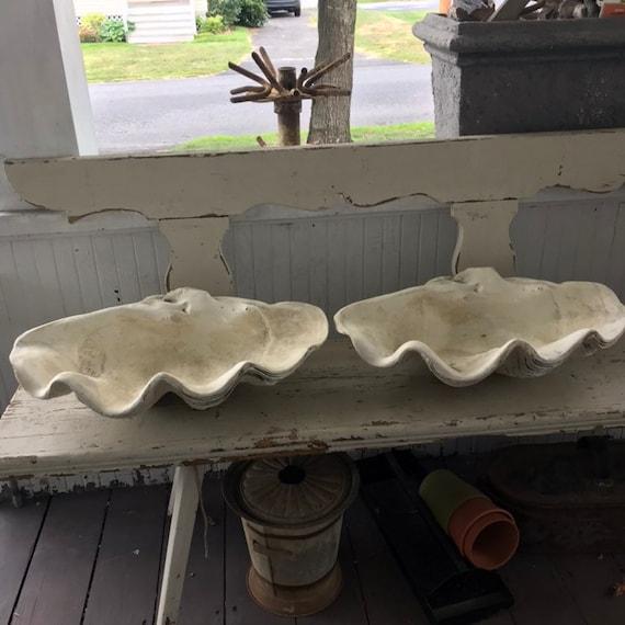 Pair Stone Clam Shells Concrete Garden Planters Giant Sea Etsy