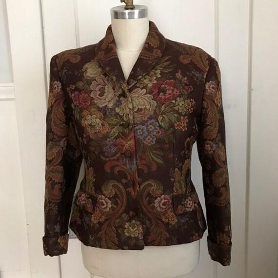Vintage Ralph Lauren Tapestry Vest Floral Tapestry