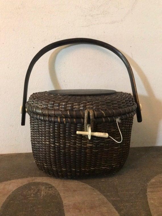 Vintage Nantucket Basket Nautical Basket Purse Bag