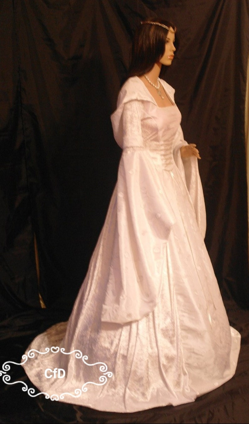 White Renaissance Wedding Dress In White Crushed Velvet With White Embroidered Taffeta With Scottish Widow Hood