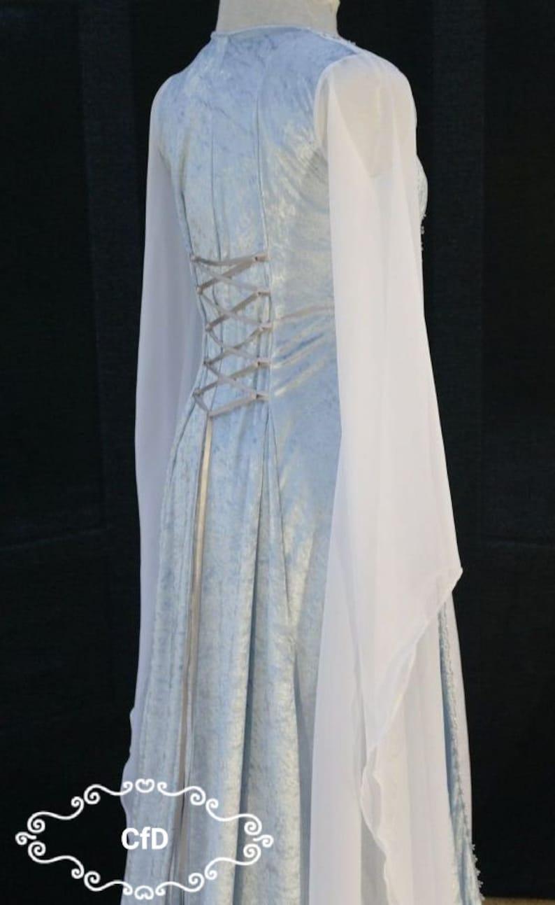 Medieval dress snow queen halloween  ice blue gown frozen