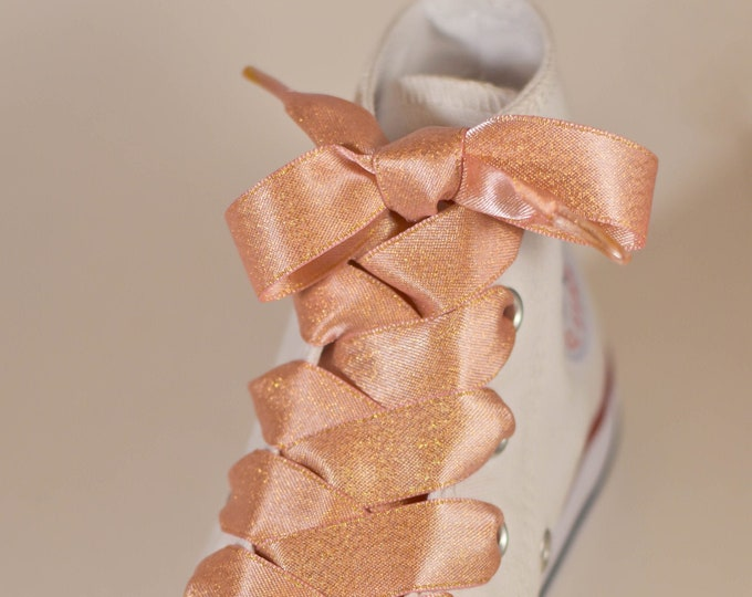 Rose Gold Satin Ribbon Shoe Laces 58 58 inch 15mm Double Sided Shoelaces