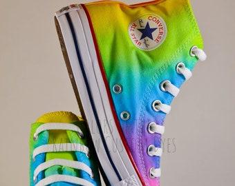 841d39bb47e9 Custom Dyed Neon Rainbow Converse All Star High Tops   FREE SHIPPING