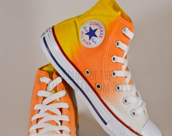 b207659795ef Custom Dyed Candy Corn Converse All Star High Tops   FREE SHIPPING