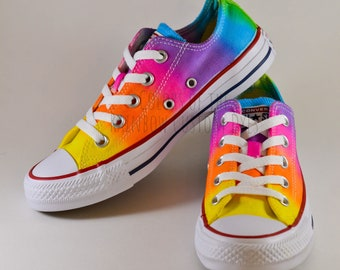 Custom Dyed Neon Rainbow Converse All Star Low Top Shoes   FREE SHIPPING   27b727223e