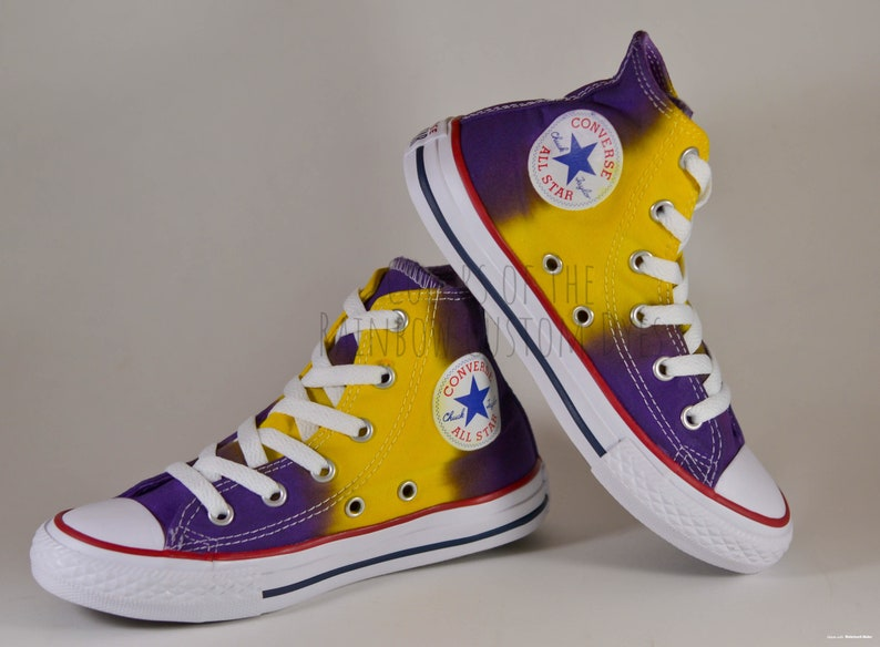 1b7bbcc626846 Custom Dyed Purple and Gold Converse All Star High Top Shoes