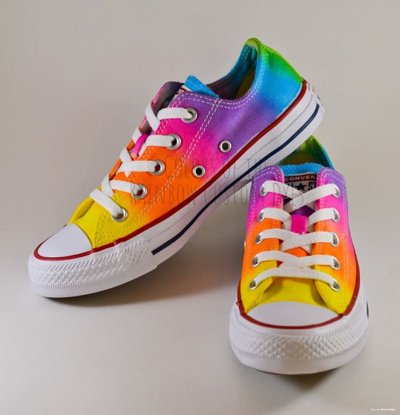 Custom Dyed Neon Rainbow Converse All Star Low Top Shoes
