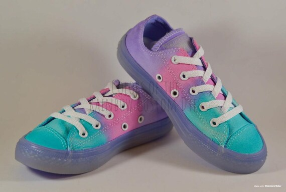 Custom Dyed Pastel Light Blue, Pink, Lavender Converse All Star Low Top Translucent Purple Midsole Shoes