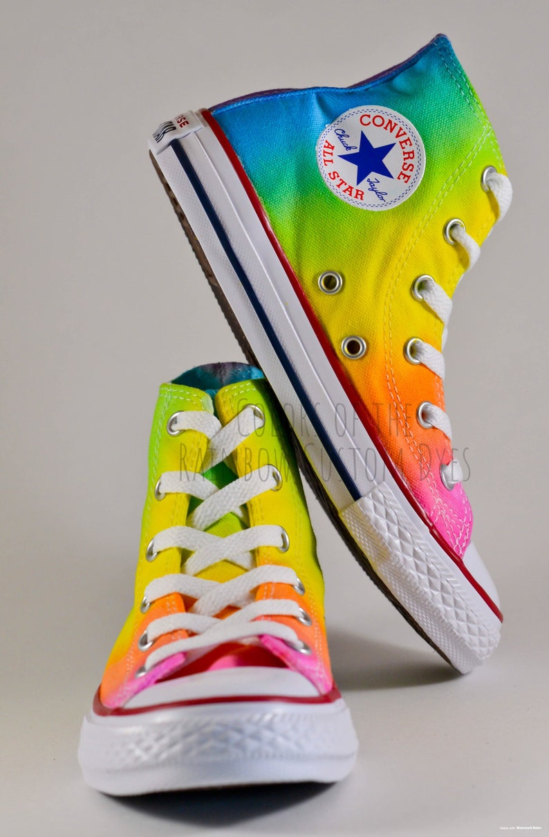 57f4b0fa7a360 Custom Dyed Neon Rainbow Converse All Star High Top Shoes