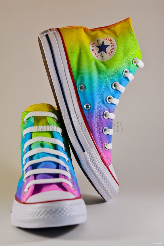 Custom Dyed Neon Rainbow Converse All Star High Top Shoes