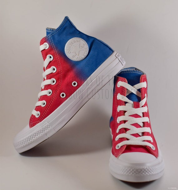 Custom Dyed Red White and Blue Converse