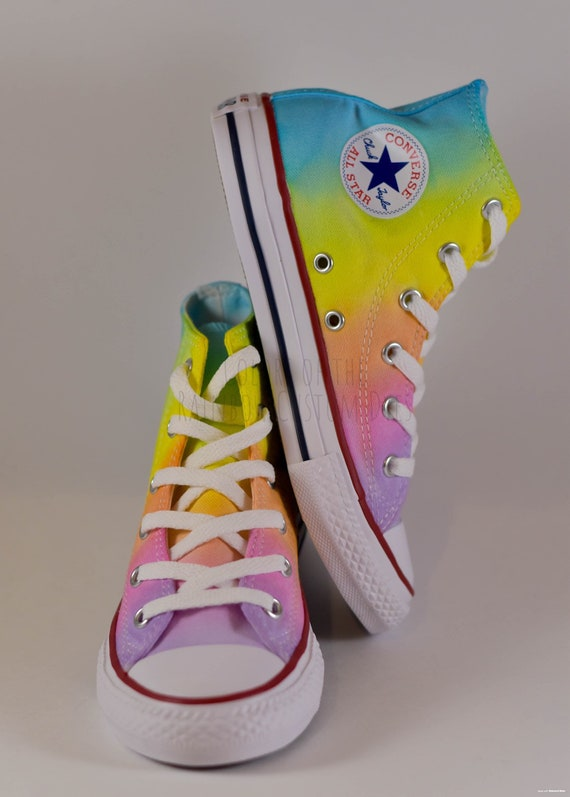 Custom Dyed Pastel Rainbow Converse All Star High Top Shoes