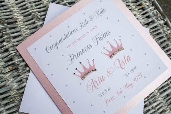 Twin Girl Baby Card Birth Congratulations Card Cinderella Twin New Baby Card Personalised Twin Card Princess Twin Card Twin Girl Card