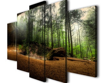 Waterfall Canvas Print Tropical Wall Art Poster Forest Landscape Decor
