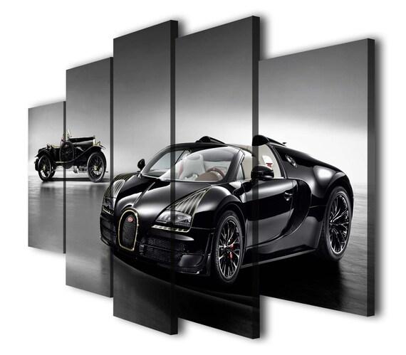 Car Bugatti Veyron Black Red Canvas Wall Art Picture Print