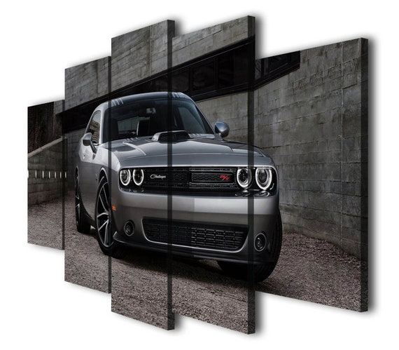 DODGE CHALLENGER 2015 GREEN MUSCLECAR   ART WALL LARGE IMAGE GIANT POSTER