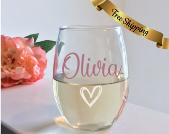 02ffa2f8270 Custom wine glass, custom wine glasses. Personalized stemless wine glass,  Bridesmaid gifts, Bachelorette Party, Birthday wine glasses, mom