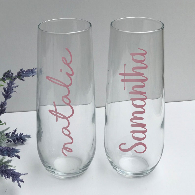 Bachelorette Party Personalized Champagne Bridesmaid Gifts Birthday Rose Gold Wedding Customizable 8.5 oz Stemless Champagne Flute