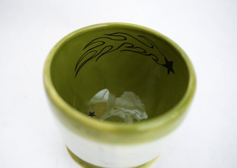 Small Green Thrown Bowl with Falling Stars