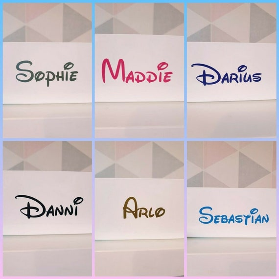 Personalised Custom Name Vinyl Sticker Decal Water Bottle Disney Font Stickers