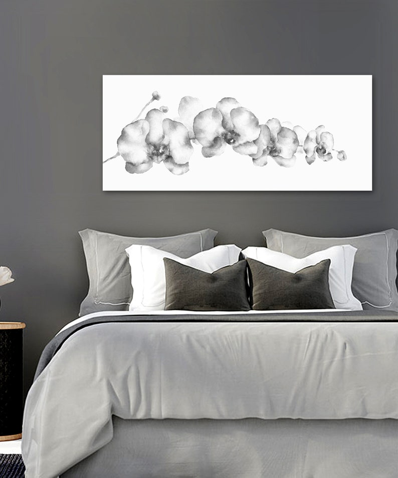 Grey wall Art Orchid Flower Watercolor Painting Print