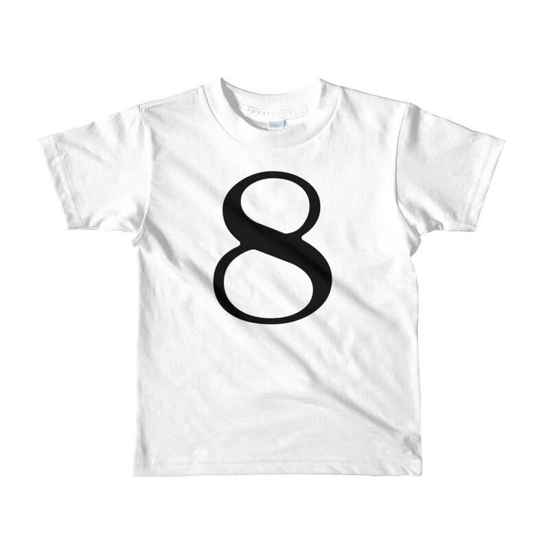 Number Shirt Number Eight Black and White European Inspired Kids Wear Kids Birthday Shirt