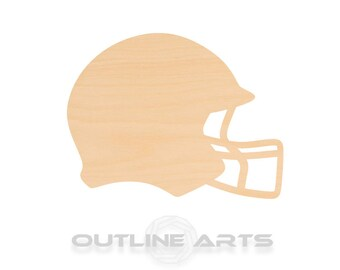 *2-24 SO-0014-01 Helmet Shape Laser Cut Unfinished Wood Cutout Shapes Sports High Middle College Team League Pick Size Large /& Small