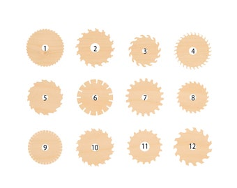 Wooden Cutout Shape Silhouette Saw Blade Tags Ornaments Laser Cut #1587