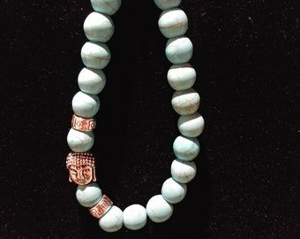 f1e59f7204a6 Turquoise Gemstone Buddha Head Bracelet