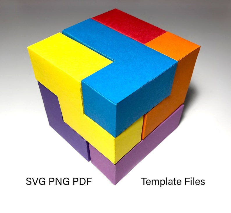 Papercraft Template  Cube Puzzle  PNG PDF SVG for image 0