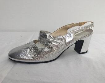 86246acad 1960s Silver Strappy Block Heel