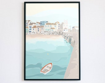 St Ives Harbour Illustration, Cornish Harbour, Lighthouse, Summer, Boats, Pier, Sea, Home, Office, Print
