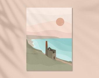 Cornwall, Wheal Coates, St Agnes, Sunset View, Mine, Summer, Art Print, Wall Art, Print, Illustration
