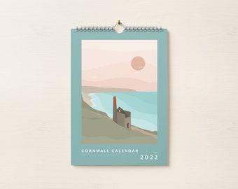 Calendar Cornwall 2022, Illustrated Calendar, St Ives, Newquay, Cornish landscapes, Cornwall, Wall Calendar,  Stationary