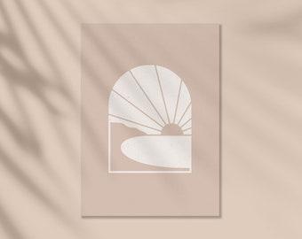 Sunset View, Minimalist illustration, Abstract landscape, Home Decor, Neutral Tones, Boho Style