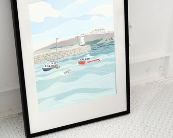 Cornwall, St Ives Harbour Illustration, Lighthouse, Boats, Pier, Sea, Summer, Cornish Harbour