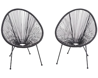 Charmant Acapulco Egg CHAIR Modern Weave Pear Shaped Chairs Patio Outdoor Retro Chair  Sun Oval Chair   2 Pieces BLACK Chair