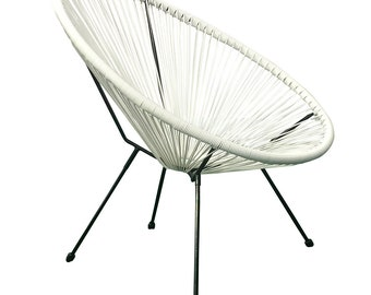 1 Piece White Acapulco Egg CHAIR Modern Weave Pear Shaped Chairs Patio  Outdoor Retro Sun Oval Chair, Brand New For Adult