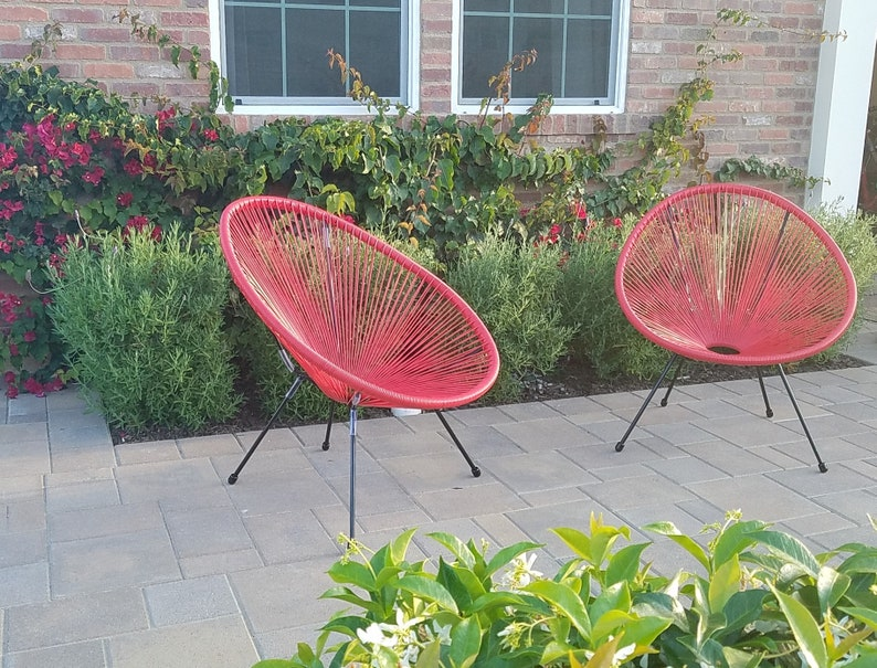 Excellent 3 Piece Red Brand New Acapulco Egg Chair Modern Weave Pear Shaped Chairs Patio Outdoor Retro Sun Oval Chair Camellatalisay Diy Chair Ideas Camellatalisaycom